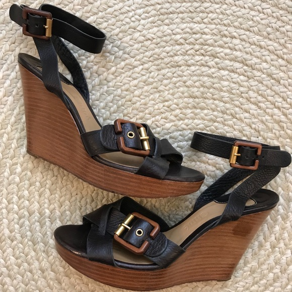 Chloe Shoes - Chloé Buckle Strap Wooden Wedge